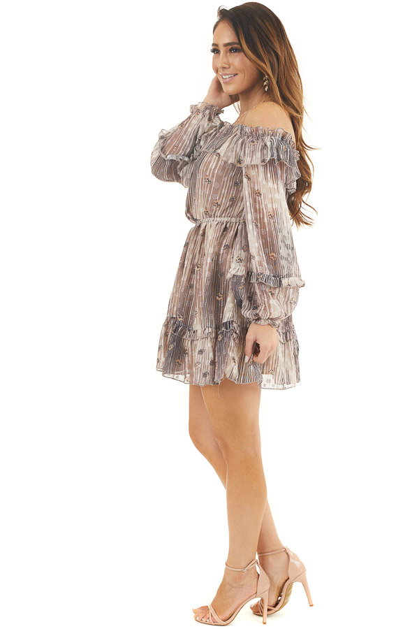 Mocha and Cream Off Shoulder Dress with Leopard Print Dots side full body