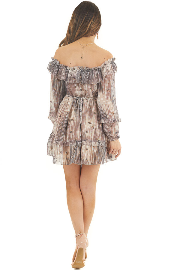 Mocha and Cream Off Shoulder Dress with Leopard Print Dots back full body