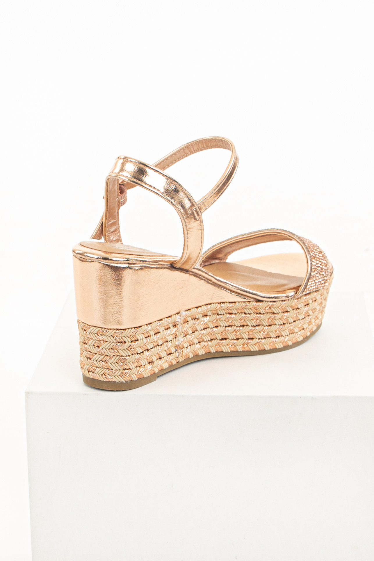 Rose Gold Wedge Espadrille Sandals with Rhinestone Details