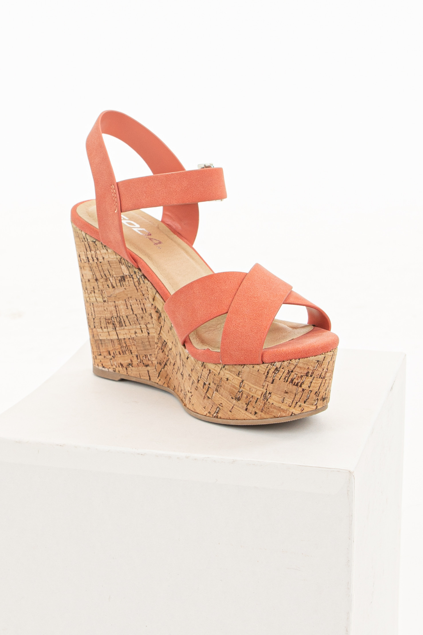 Coral Criss Cross Strap Cork Wedge Heels with Ankle Straps