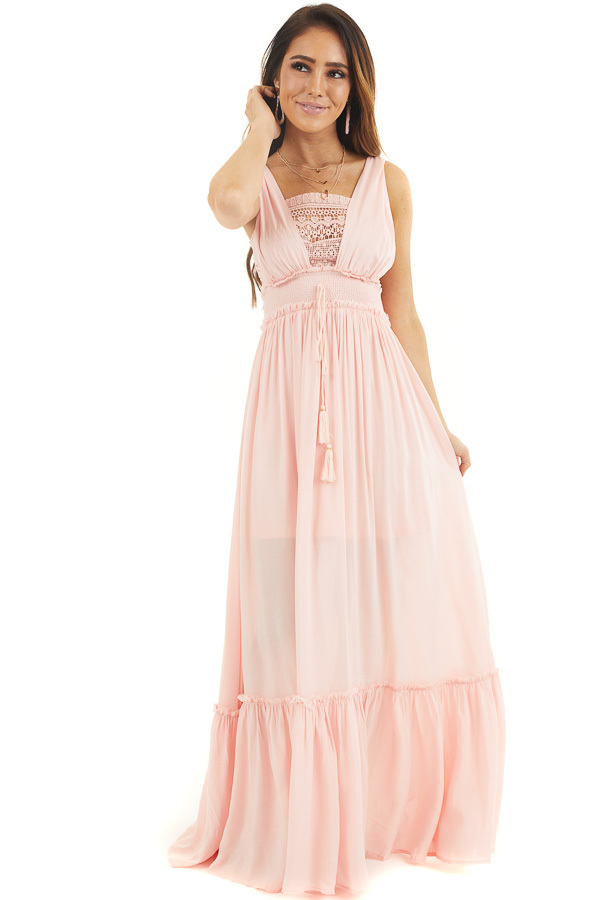 Baby Pink Sleeveless Maxi Dress with Crochet Lace Details front full body