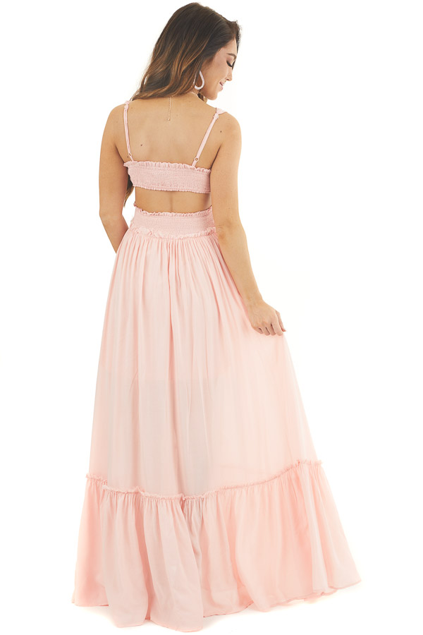 Baby Pink Sleeveless Maxi Dress with Crochet Lace Details back full body