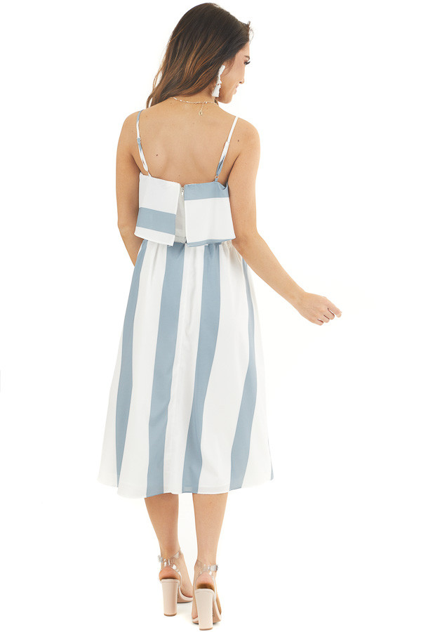 Slate Blue and White Striped Top and Skirt Two Piece Set back full body