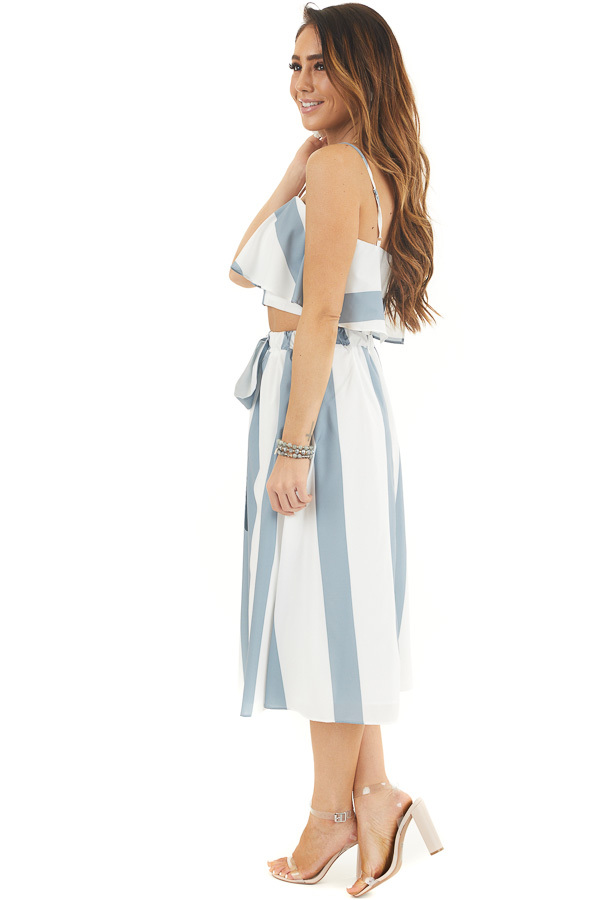 Slate Blue and White Striped Top and Skirt Two Piece Set side full body