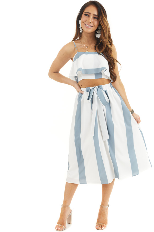 Slate Blue and White Striped Top and Skirt Two Piece Set front full body