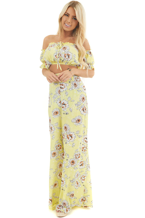 Lemon Floral Print Crop Top and Wide Leg Pants Two Piece Set front full body
