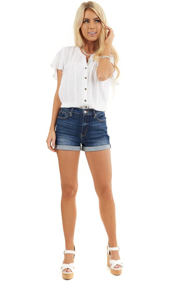 White Button Up Short Sleeve V Neck Woven Top front full body