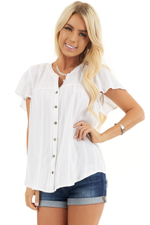 White Button Up Short Sleeve V Neck Woven Top front close up