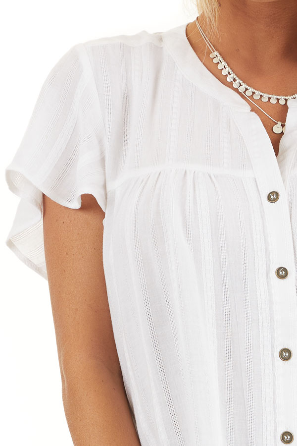 White Button Up Short Sleeve V Neck Woven Top detail