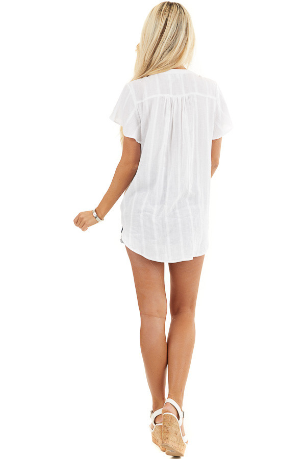 White Button Up Short Sleeve V Neck Woven Top back full body