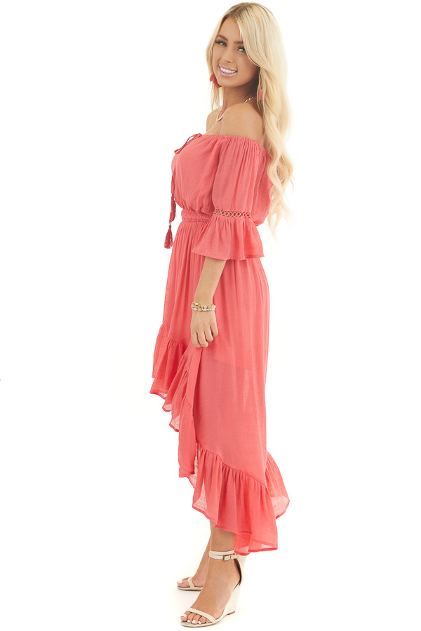 Coral Off the Shoulder Maxi Dress with High Low Hemline side full body