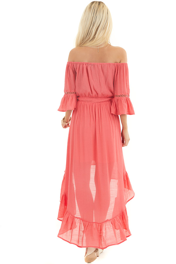 Coral Off the Shoulder Maxi Dress with High Low Hemline back full body