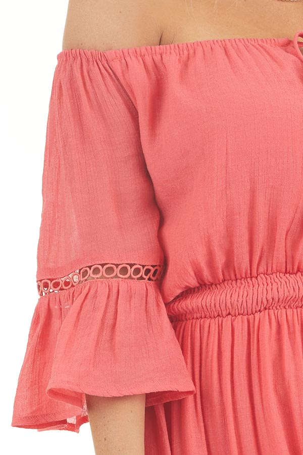 Coral Off the Shoulder Maxi Dress with High Low Hemline detail