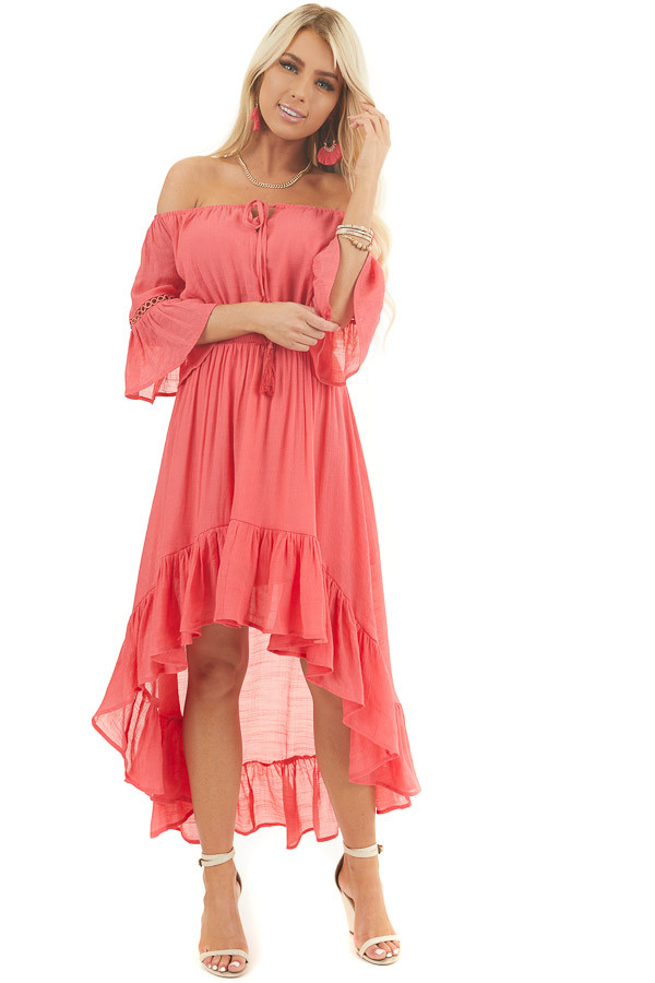 Coral Off the Shoulder Maxi Dress with High Low Hemline front full body