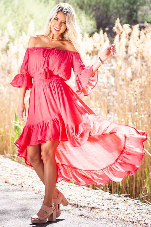 Coral Off the Shoulder Maxi Dress with High Low Hemline