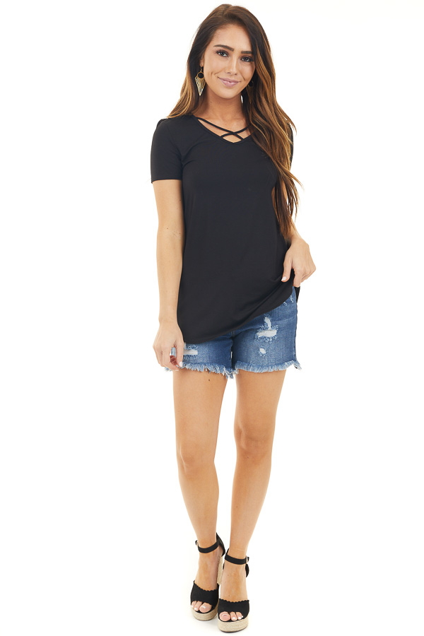 Black Criss Cross Neckline Tee with Short Sleeves front full body