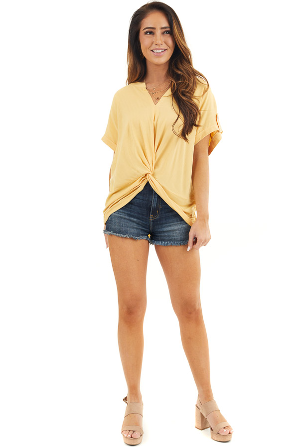 Marigold Short Sleeve V Neck Top with Front Knot Detail front full body