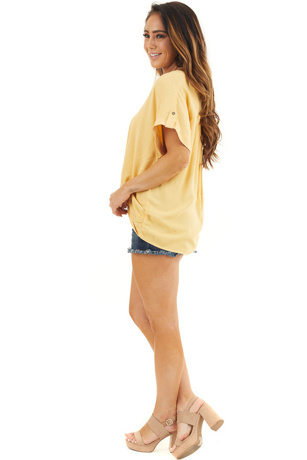 Marigold Short Sleeve V Neck Top with Front Knot Detail side full body
