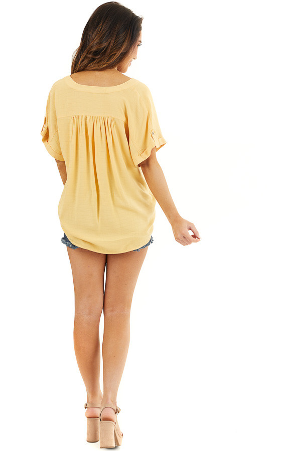 Marigold Short Sleeve V Neck Top with Front Knot Detail back full body