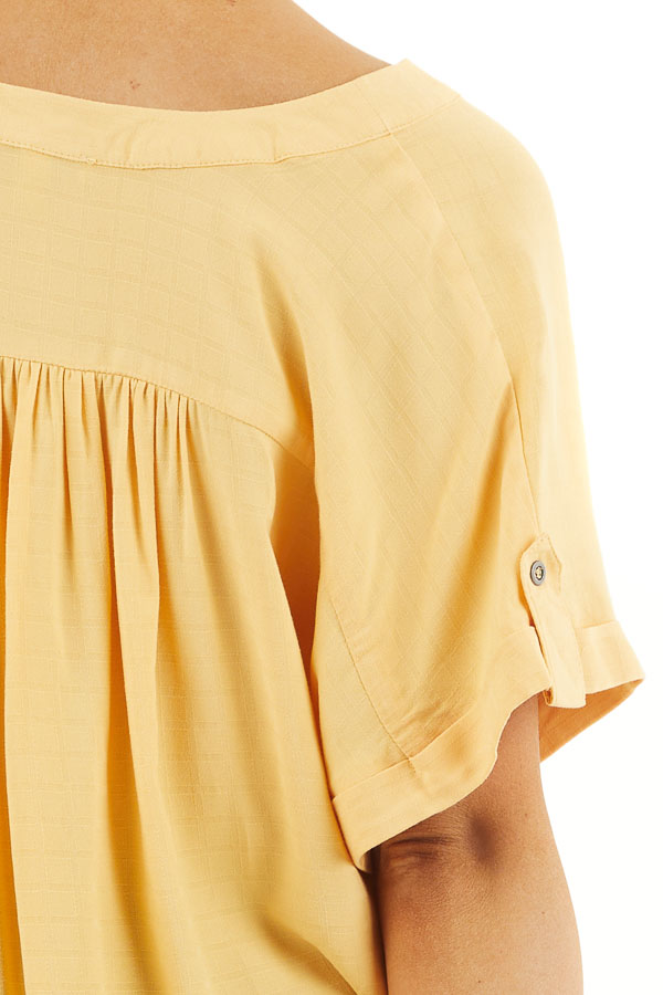 Marigold Short Sleeve V Neck Top with Front Knot Detail detail