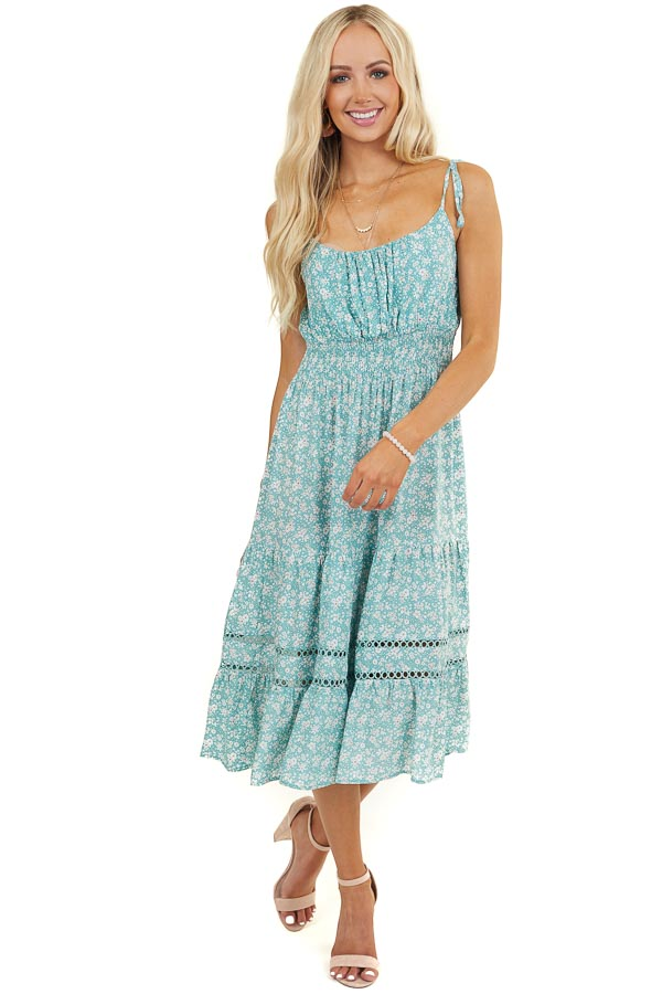 Dusty Teal Floral Midi Dress with Tiered Skirt and Smocking