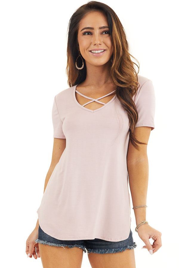 Dusty Rose Short Sleeve Top with Criss Cross Detail front close up