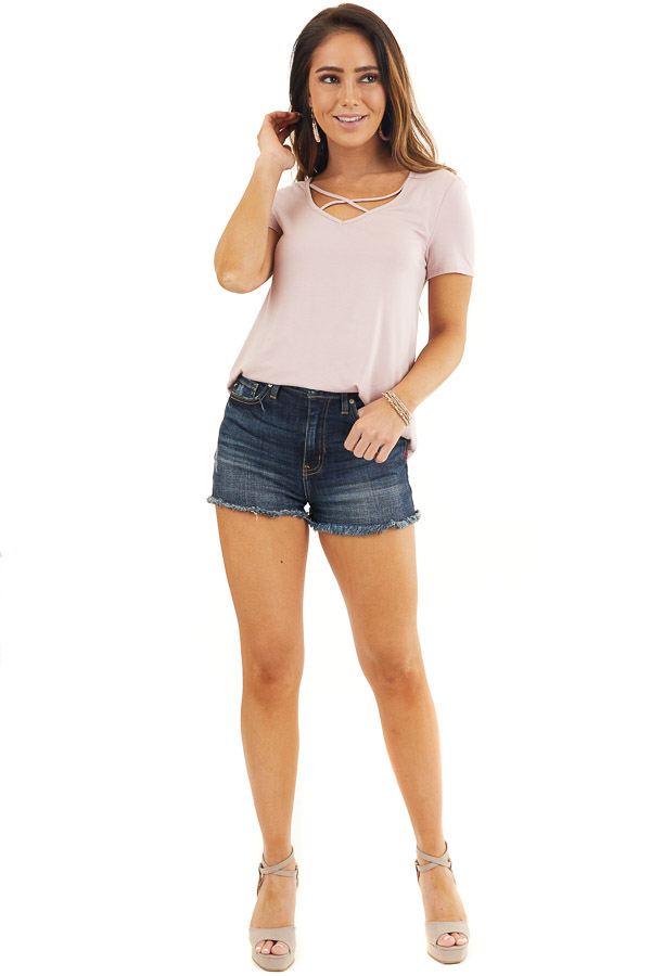 Dusty Rose Short Sleeve Top with Criss Cross Detail front full body