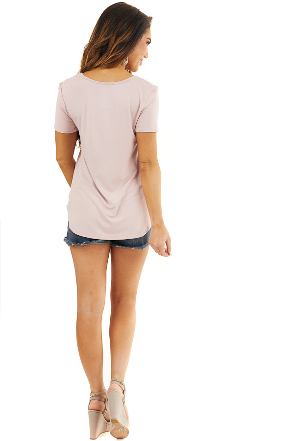 Dusty Rose Short Sleeve Top with Criss Cross Detail back full body