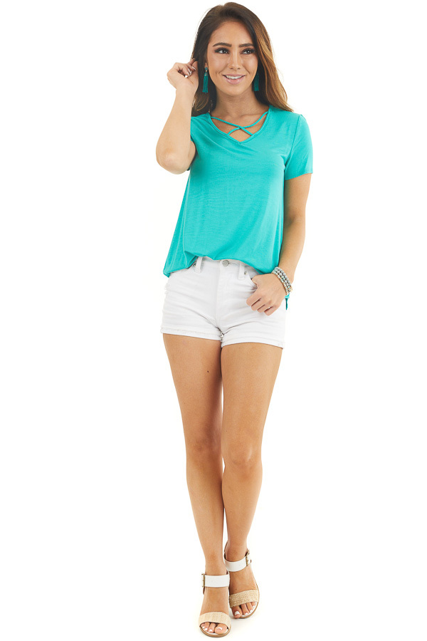 Jungle Green Short Sleeve Top with Criss Cross Detail front full body
