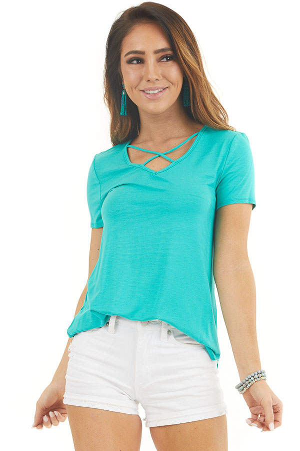Jungle Green Short Sleeve Top with Criss Cross Detail front close up