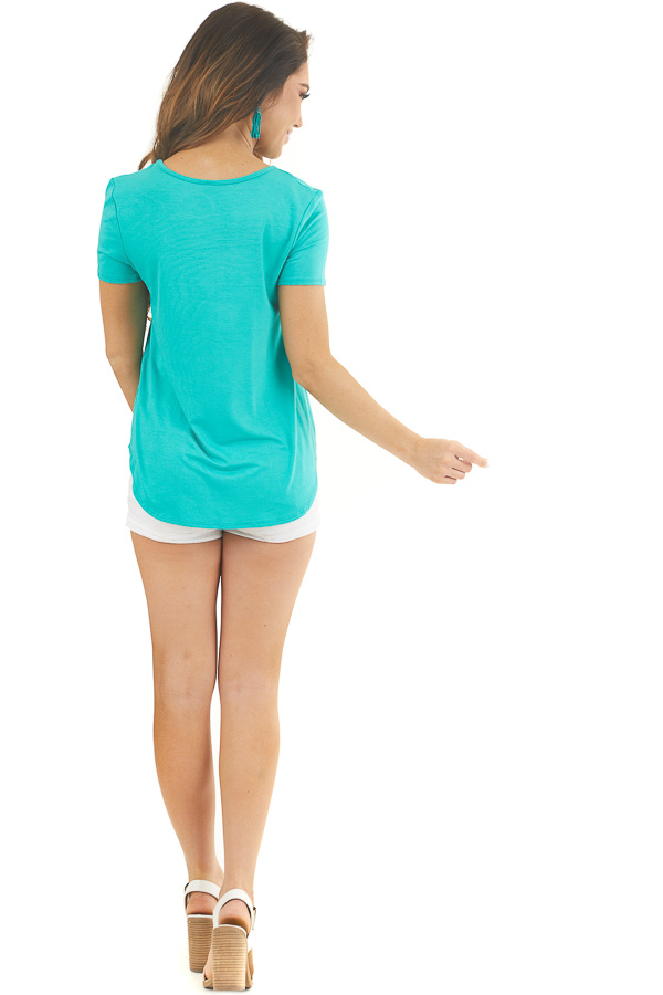 Jungle Green Short Sleeve Top with Criss Cross Detail back full body