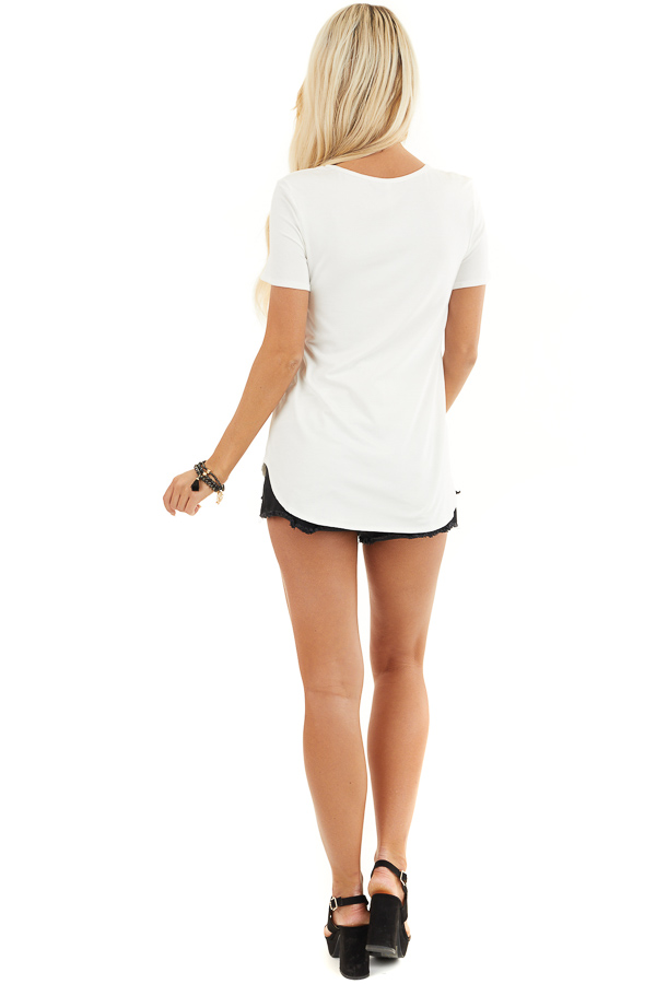 Ivory Short Sleeve Top with Criss Cross Detail back full body