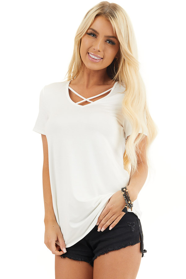 Ivory Short Sleeve Top with Criss Cross Detail front close up