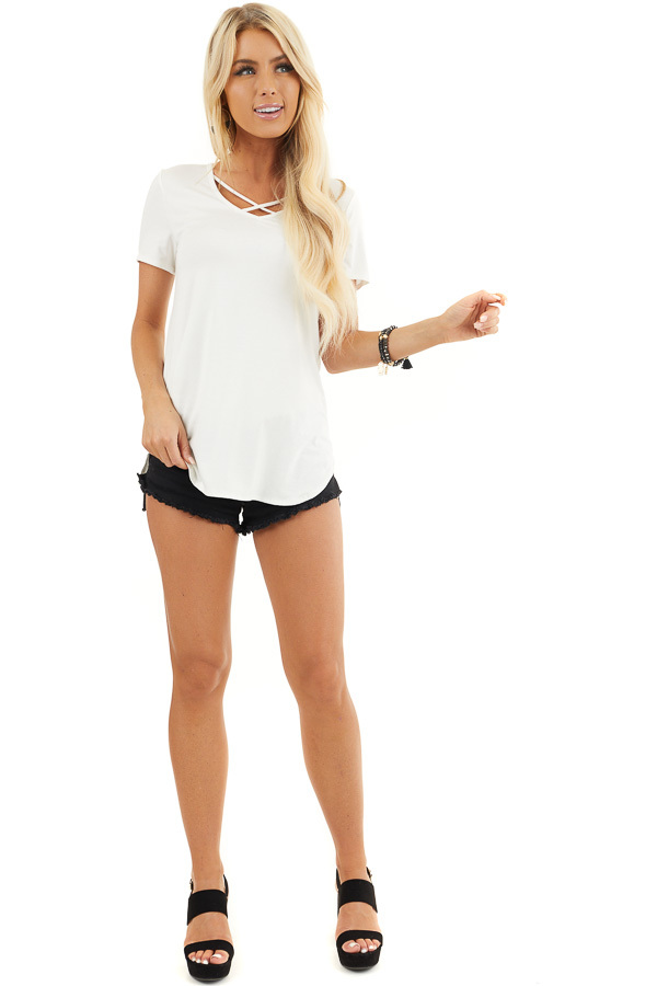 Ivory Short Sleeve Top with Criss Cross Detail front full body
