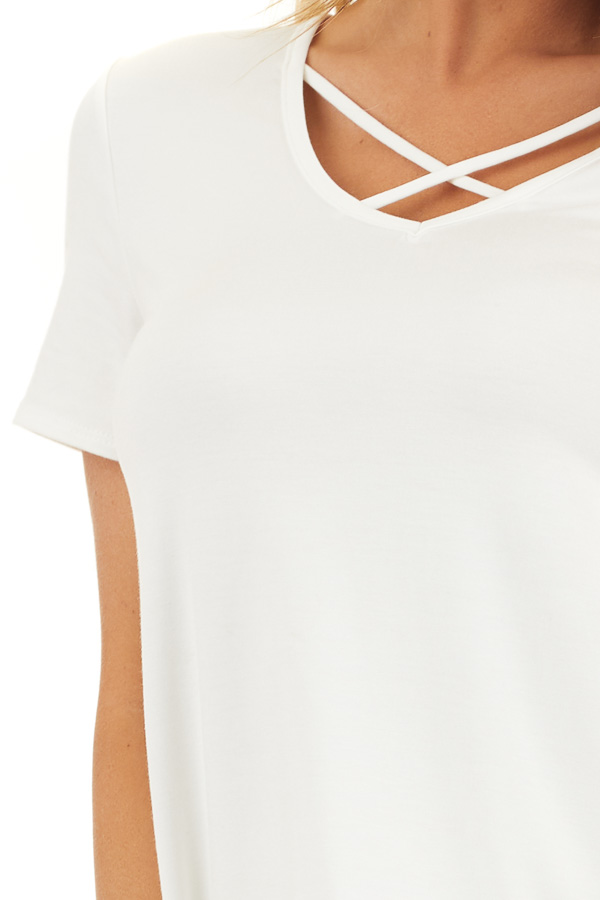 Ivory Short Sleeve Top with Criss Cross Detail detail