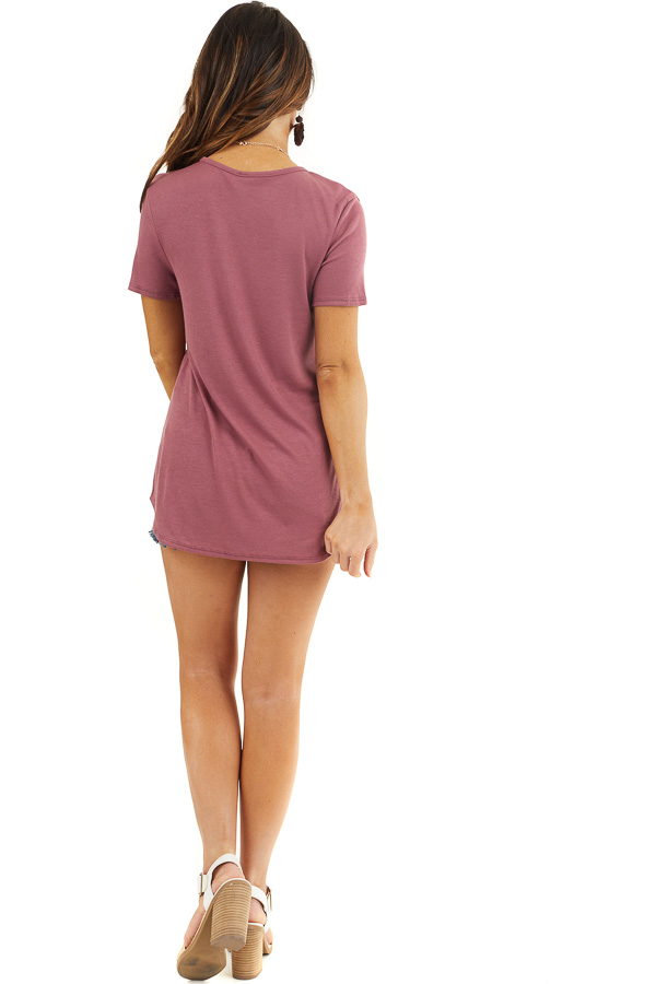 Marsala Short Sleeve Ribbed Knit Top with Geometric Neckline back full body