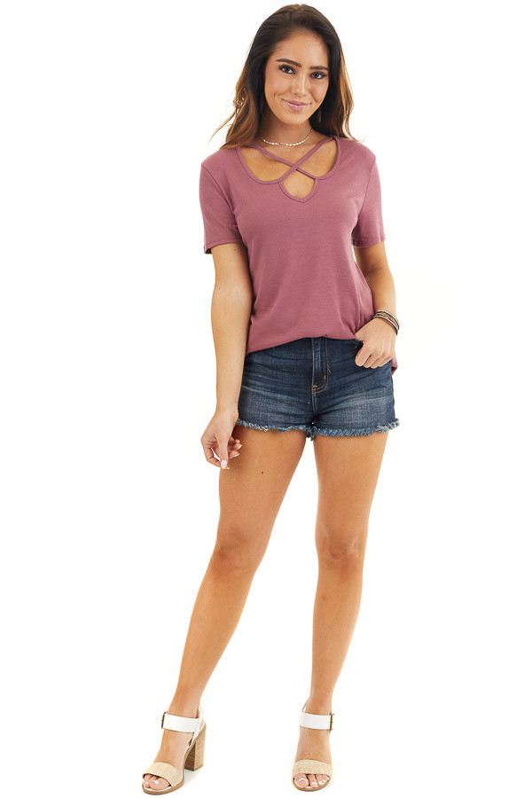 Marsala Short Sleeve Ribbed Knit Top with Geometric Neckline front full body