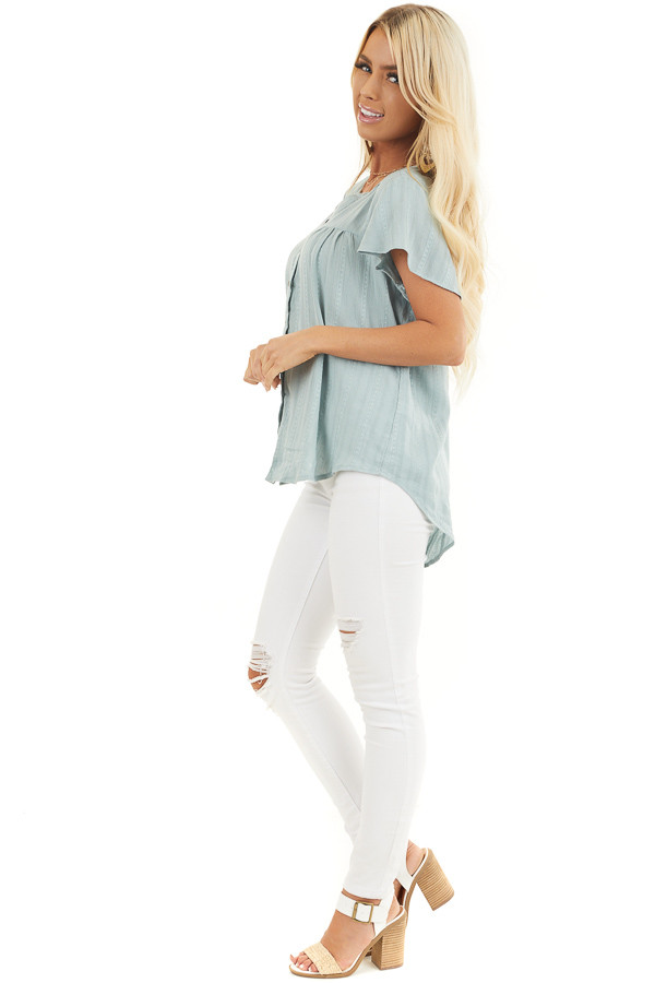 Sage Button Up Short Sleeve V Neck Woven Top side full body