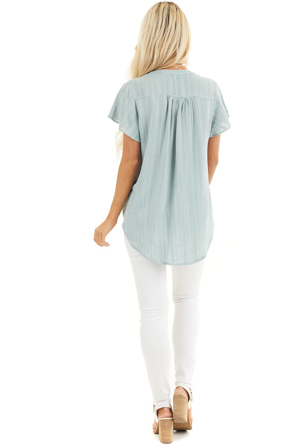 Sage Button Up Short Sleeve V Neck Woven Top back full body