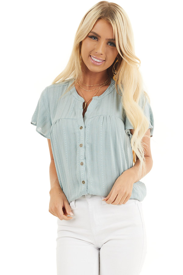 Sage Button Up Short Sleeve V Neck Woven Top front close up