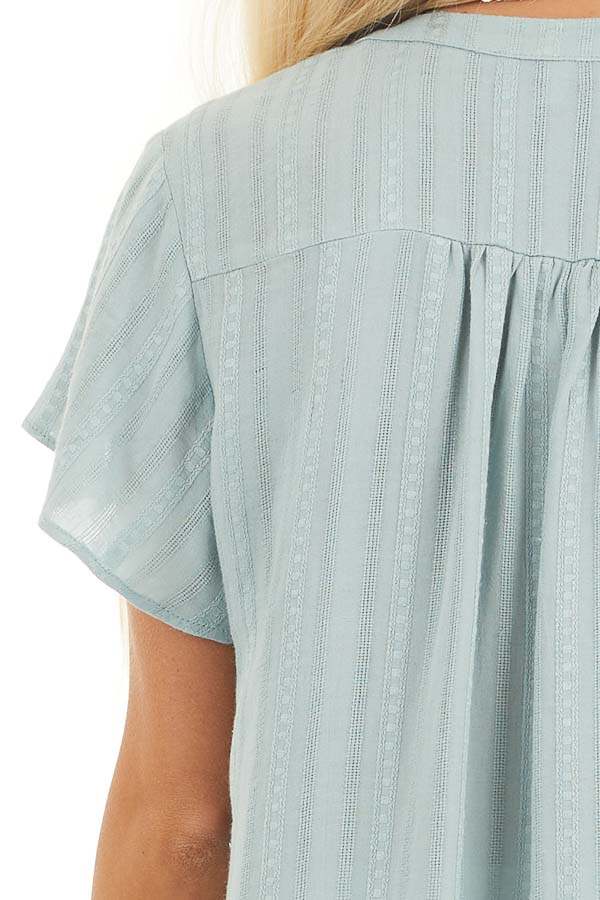 Sage Button Up Short Sleeve V Neck Woven Top detail