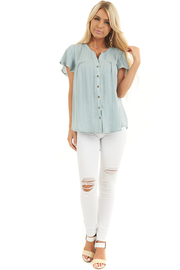 Sage Button Up Short Sleeve V Neck Woven Top front full body