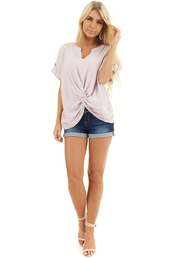 Blush Pink Short Sleeve V Neck Top with Front Knot Detail front full body