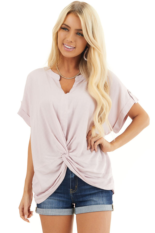 Blush Pink Short Sleeve V Neck Top with Front Knot Detail front close up