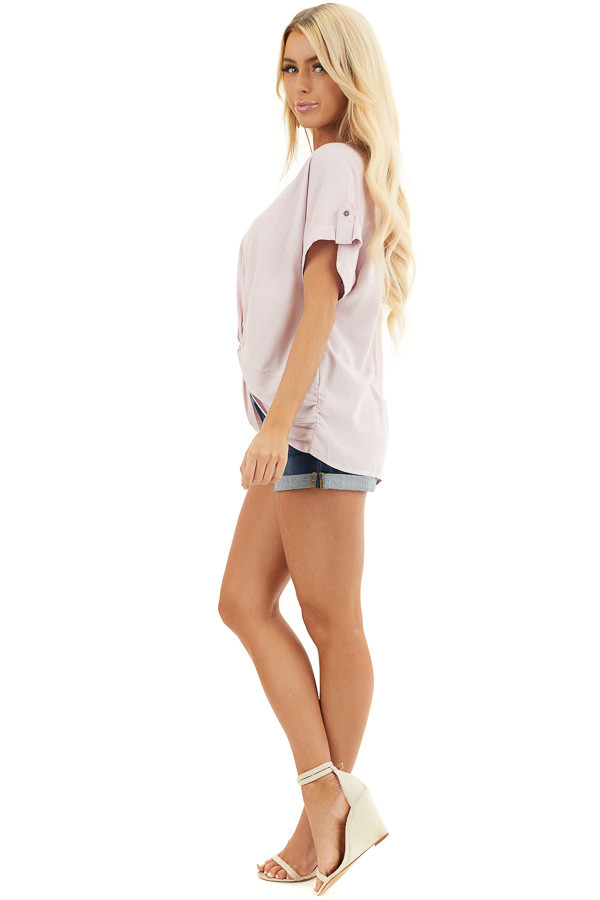 Blush Pink Short Sleeve V Neck Top with Front Knot Detail side full body