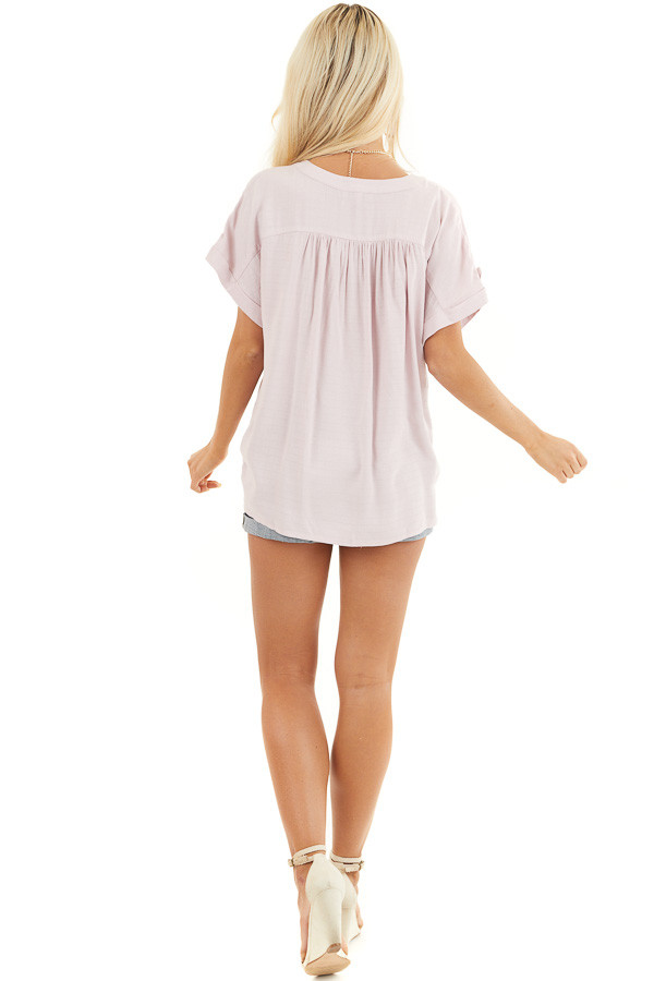 Blush Pink Short Sleeve V Neck Top with Front Knot Detail back full body