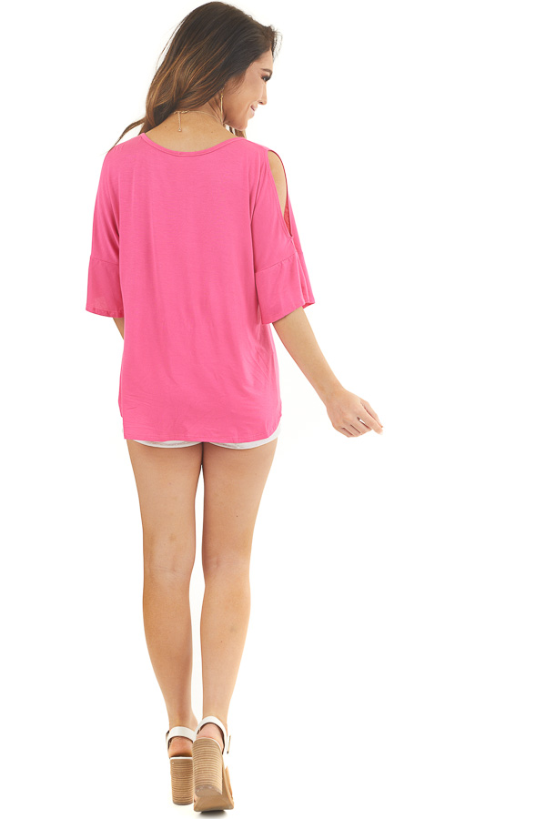 Hot Pink Cold Shoulder Knit Top with Flare Sleeves back full body