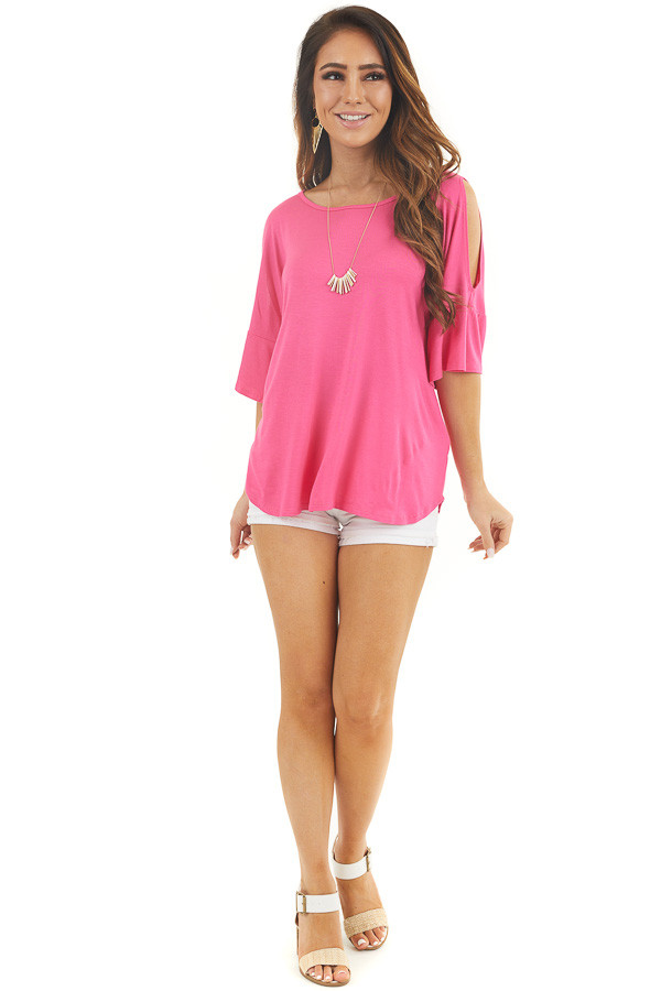 Hot Pink Cold Shoulder Knit Top with Flare Sleeves front full body