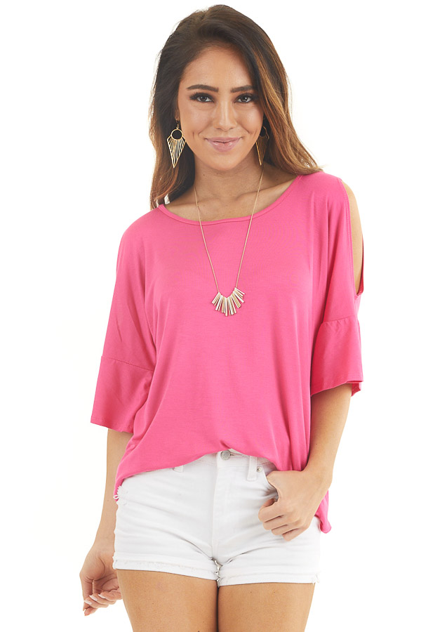 Hot Pink Cold Shoulder Knit Top with Flare Sleeves front close up