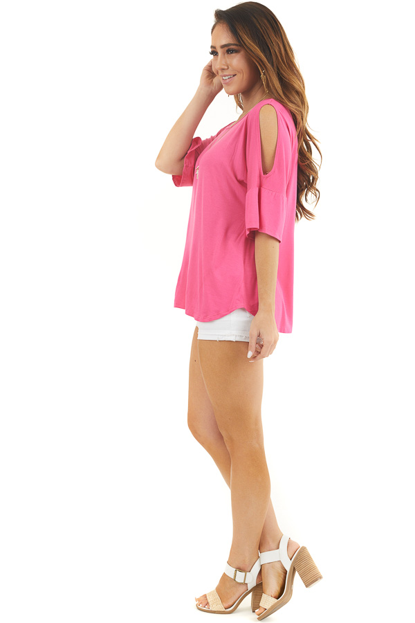 Hot Pink Cold Shoulder Knit Top with Flare Sleeves side full body